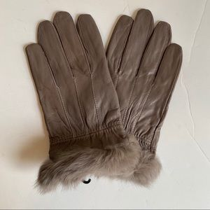 Leather Fur Gloves Medium Rabbit Trim Short Taupe